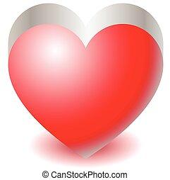 3d red heart shape illustration Love, affection, Valentine's...