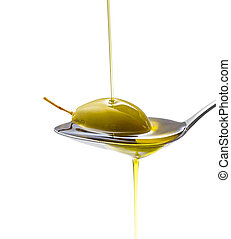Green olive in full oil spoon, isolated - Green olive in...