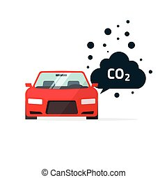 co2 emissions vector illustration, car carbon dioxide emits symbol