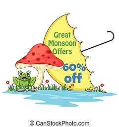 Happy Monsoon Sale Offer promotional and advertisment banner