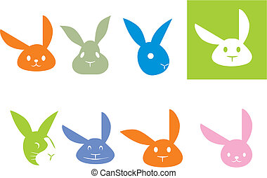 Rabbit logo - Variants of vector logos with the image of a...