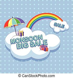 Happy Monsoon Sale Offer promotional and advertisment banner...