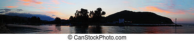 Nightfall on Turtle River - Georgioupolis, Crete, at sunset,...