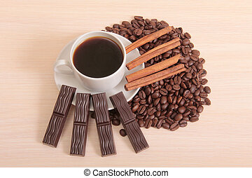 Chocolate and coffee mag - Coffee beans and chocolate cut