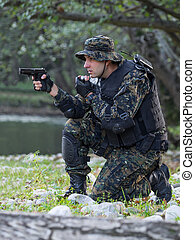 Police special forces, under exposed photoNational flag on...