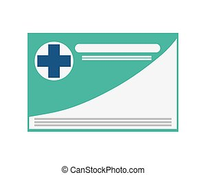 medical insurance card icon - simple flat design medical...