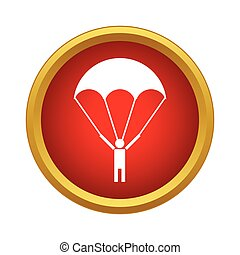 Parachutist icon in simple style on a white background