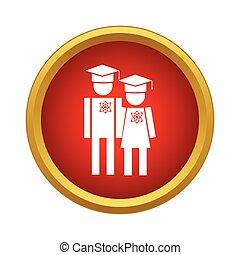 Graduates in graduation cap icon, simple style