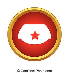 Cap with red star icon in simple style