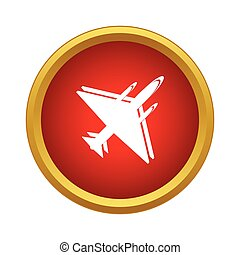 Military aircraft icon in simple style on a white background