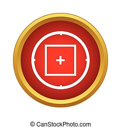 Sniper target scope or sight icon in simple style on a white...