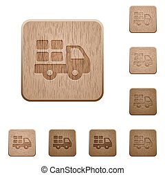 Transport wooden buttons