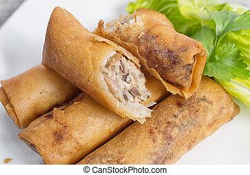 profundo, fritado, vietnamita, Imperial, rolos