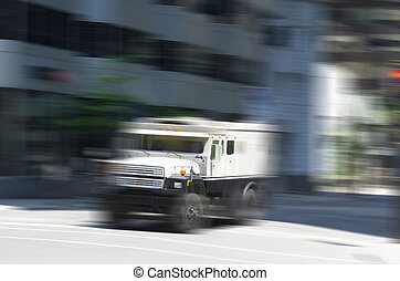 Armored truck with motion effect applied