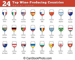 Top wine producing countries - Collection of top wine...