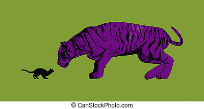 Fearless Concept with Small Cat Staring at Tiger