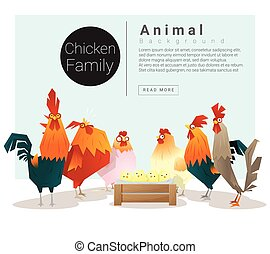 Cute animal family background with Chickens , vector ,...