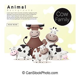 Cute animal family background with Cows , vector ,...