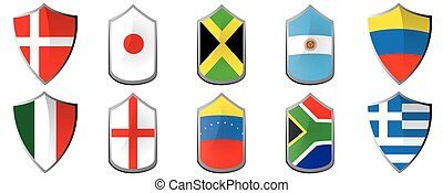 Set of flags, Vector illustration