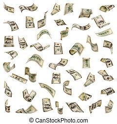 Hundred dollar bills falling isolated on white