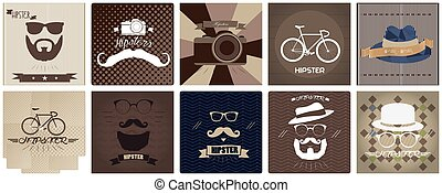 Set of hipster icons, vector illustration