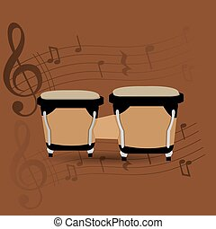 Musical instrument - Percussion instrument, Isolated bongos...