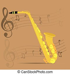 Musical instrument - Wind instrument, Isolated saxophone,...