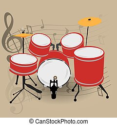 Musical instrument - Percussion instrument, Isolated drum...