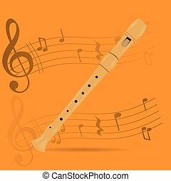 Musical instrument - Wind instrument, Isolated flute,...