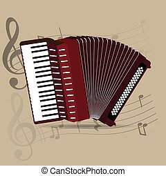 Musical instrument - Wind instrument, isolated accordion,...