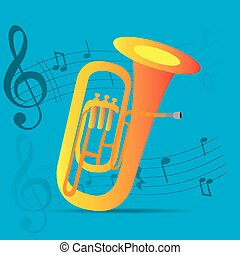 Musical instrument - Wind instrument, Isolated tuba, Musical...