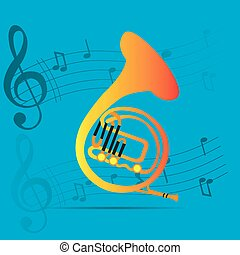 Musical instrument - Wind instrument, Isolated horn, Musical...