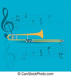 Musical instrument - Wind instrument, Isolated trombone,...