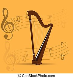 Musical instrument - String instrument, Isolated harp,...