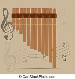 Musical instrument - Wind instrument, Isolated pan flute,...