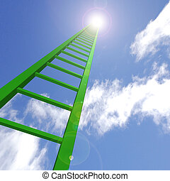 Sky Ladder - A green ladder reaching up to the sky.