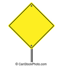 Image of a blank yellow sign on a white background.