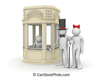 Couple taking tickets in booking office - Entertainment...