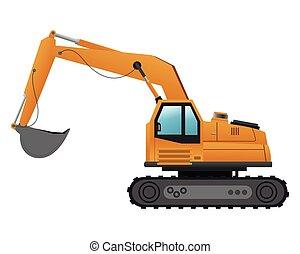 backhoe machine icon - flat design backhoe machine icon...