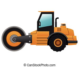 steamroller machine icon - flat design steamroller machine...