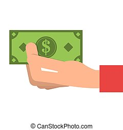 hand with dollar bill icon