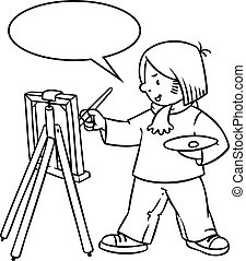 Funny artist or painter Coloring book - Coloring picture or...