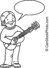 Funny musician or guitarist Coloring book - Coloring book of...