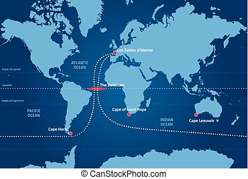 Sailing race around the world, from Les Sables d'Olonne to...