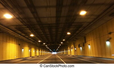 the car leaves the tunnel under a dam Petersburg-Kronstadt -...
