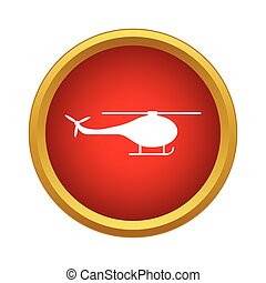 Helicopter side view icon, simple style