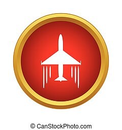 Plane in air icon, simple style