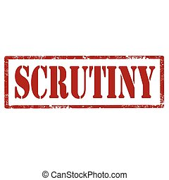 Scrutiny-red stamp - Grunge rubber stamp with text...
