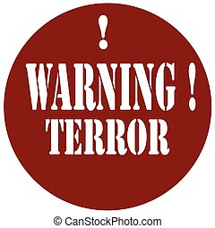 Warning Terror-stamp - Stamp with text WarningTerror,vector...