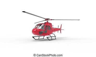 Red civilian helicopter on a white uniform background. 3d...